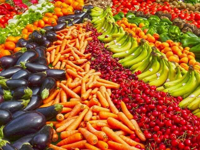 Fresh fuits and vegetables